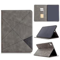 Binfen Color Prismatic Slim Magnetic Sucking Stitching Wallet Flip Cover for Apple iPad Pro 11(2018) - Gray