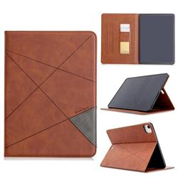 Binfen Color Prismatic Slim Magnetic Sucking Stitching Wallet Flip Cover for Apple iPad Pro 11(2018) - Brown