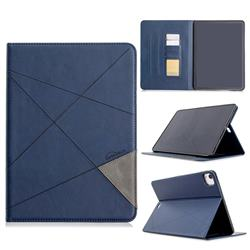 Binfen Color Prismatic Slim Magnetic Sucking Stitching Wallet Flip Cover for Apple iPad Pro 11(2018) - Blue