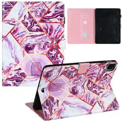 Dream Purple Stitching Color Marble Leather Flip Cover for Apple iPad Pro 11(2018)