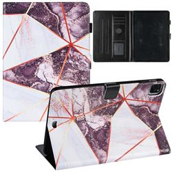 Black and White Stitching Color Marble Leather Flip Cover for Apple iPad Pro 11(2018)