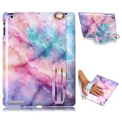 Dream Green Marble Clear Bumper Glossy Rubber Silicone Wrist Band Tablet Stand Holder Cover for iPad 4 the New iPad iPad2 iPad3