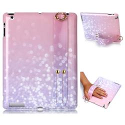 Glitter Pink Marble Clear Bumper Glossy Rubber Silicone Wrist Band Tablet Stand Holder Cover for iPad 4 the New iPad iPad2 iPad3