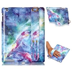 Blue Starry Sky Marble Clear Bumper Glossy Rubber Silicone Wrist Band Tablet Stand Holder Cover for iPad 4 the New iPad iPad2 iPad3