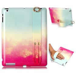 Sunset Glow Marble Clear Bumper Glossy Rubber Silicone Wrist Band Tablet Stand Holder Cover for iPad 4 the New iPad iPad2 iPad3