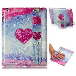 Glitter Rose Heart Marble Clear Bumper Glossy Rubber Silicone Wrist Band Tablet Stand Holder Cover for iPad 4 the New iPad iPad2 iPad3