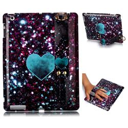 Glitter Green Heart Marble Clear Bumper Glossy Rubber Silicone Wrist Band Tablet Stand Holder Cover for iPad 4 the New iPad iPad2 iPad3