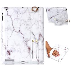 White Smooth Marble Clear Bumper Glossy Rubber Silicone Wrist Band Tablet Stand Holder Cover for iPad 4 the New iPad iPad2 iPad3