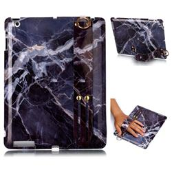 Gray Stone Marble Clear Bumper Glossy Rubber Silicone Wrist Band Tablet Stand Holder Cover for iPad 4 the New iPad iPad2 iPad3