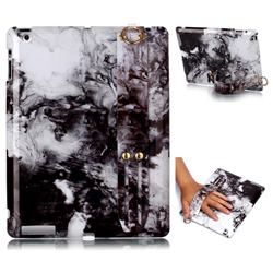 Smoke Ink Painting Marble Clear Bumper Glossy Rubber Silicone Wrist Band Tablet Stand Holder Cover for iPad 4 the New iPad iPad2 iPad3