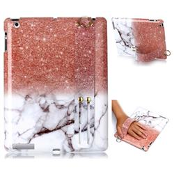 Glittering Rose Gold Marble Clear Bumper Glossy Rubber Silicone Wrist Band Tablet Stand Holder Cover for iPad 4 the New iPad iPad2 iPad3