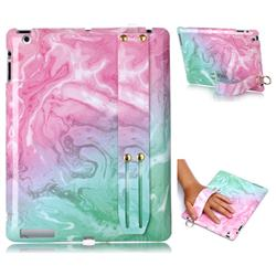 Pink Green Marble Clear Bumper Glossy Rubber Silicone Wrist Band Tablet Stand Holder Cover for iPad 4 the New iPad iPad2 iPad3
