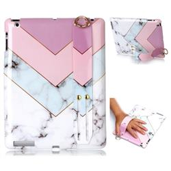 Stitching Pink Marble Clear Bumper Glossy Rubber Silicone Wrist Band Tablet Stand Holder Cover for iPad 4 the New iPad iPad2 iPad3