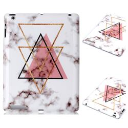 Inverted Triangle Powder Marble Clear Bumper Glossy Rubber Silicone Phone Case for iPad 4 the New iPad iPad2 iPad3