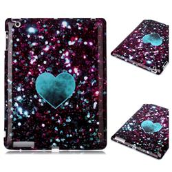 Glitter Green Heart Marble Clear Bumper Glossy Rubber Silicone Phone Case for iPad 4 the New iPad iPad2 iPad3