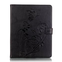 Embossing Butterfly Flower Leather Wallet Case for iPad 4 / the New iPad / iPad 2 / iPad 3 - Black