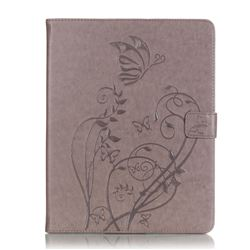 Embossing Butterfly Flower Leather Wallet Case for iPad 4 / the New iPad / iPad 2 / iPad 3 - Grey