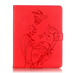 Embossing Butterfly Flower Leather Wallet Case for iPad 4 / the New iPad / iPad 2 / iPad 3 - Red