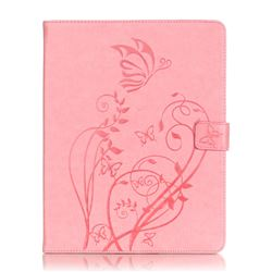 Embossing Butterfly Flower Leather Wallet Case for iPad 4 / the New iPad / iPad 2 / iPad 3 - Pink
