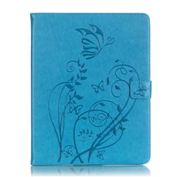 Embossing Butterfly Flower Leather Wallet Case for iPad 4 / the New iPad / iPad 2 / iPad 3 - Blue