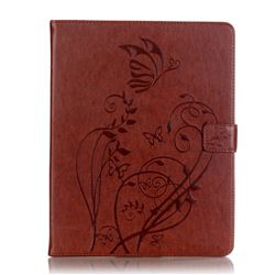 Embossing Butterfly Flower Leather Wallet Case for iPad 4 / the New iPad / iPad 2 / iPad 3 - Brown
