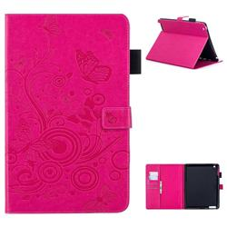 Intricate Embossing Butterfly Circle Leather Wallet Case for iPad 4 the New iPad iPad2 iPad3 - Red