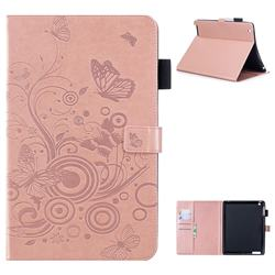 Intricate Embossing Butterfly Circle Leather Wallet Case for iPad 4 the New iPad iPad2 iPad3 - Rose Gold