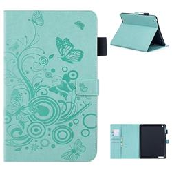 Intricate Embossing Butterfly Circle Leather Wallet Case for iPad 4 the New iPad iPad2 iPad3 - Cyan