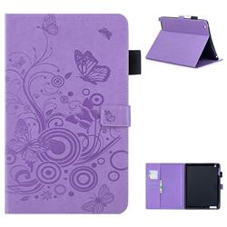 Intricate Embossing Butterfly Circle Leather Wallet Case for iPad 4 the New iPad iPad2 iPad3 - Purple
