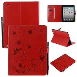 Embossing Bee and Cat Leather Flip Cover for iPad 4 the New iPad iPad2 iPad3 - Red