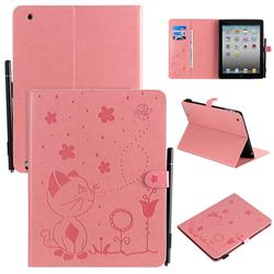 Embossing Bee and Cat Leather Flip Cover for iPad 4 the New iPad iPad2 iPad3 - Pink