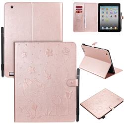 Embossing Bee and Cat Leather Flip Cover for iPad 4 the New iPad iPad2 iPad3 - Rose Gold