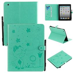 Embossing Bee and Cat Leather Flip Cover for iPad 4 the New iPad iPad2 iPad3 - Green