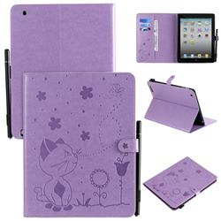 Embossing Bee and Cat Leather Flip Cover for iPad 4 the New iPad iPad2 iPad3 - Purple