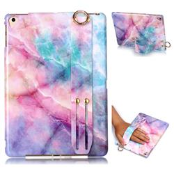 Dream Green Marble Clear Bumper Glossy Rubber Silicone Wrist Band Tablet Stand Holder Cover for iPad Air iPad5