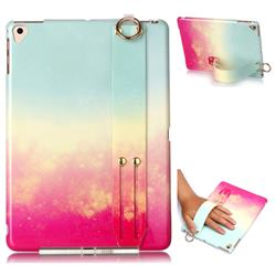 Sunset Glow Marble Clear Bumper Glossy Rubber Silicone Wrist Band Tablet Stand Holder Cover for iPad Air iPad5