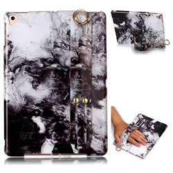 Smoke Ink Painting Marble Clear Bumper Glossy Rubber Silicone Wrist Band Tablet Stand Holder Cover for iPad Air iPad5