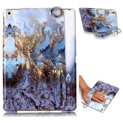 Sea Blue Marble Clear Bumper Glossy Rubber Silicone Wrist Band Tablet Stand Holder Cover for iPad Air iPad5