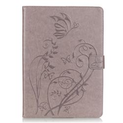Embossing Butterfly Flower Leather Wallet Case for iPad Air / iPad 5 - Grey
