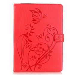 Embossing Butterfly Flower Leather Wallet Case for iPad Air / iPad 5 - Red
