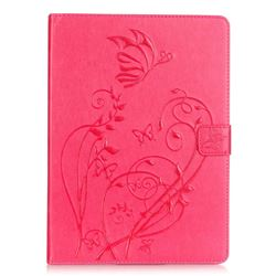 Embossing Butterfly Flower Leather Wallet Case for iPad Air / iPad 5 - Rose