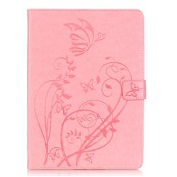 Embossing Butterfly Flower Leather Wallet Case for iPad Air / iPad 5 - Pink