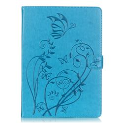 Embossing Butterfly Flower Leather Wallet Case for iPad Air / iPad 5 - Blue