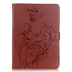 Embossing Butterfly Flower Leather Wallet Case for iPad Air / iPad 5 - Brown