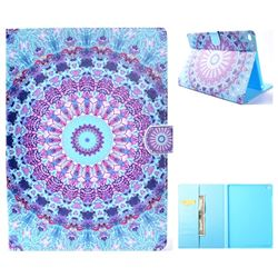 Mint Green Mandala Flower Folio Flip Stand Leather Wallet Case for iPad Air iPad5