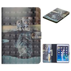 Tiger and Cat 3D Painted Leather Tablet Wallet Case for iPad Air iPad5