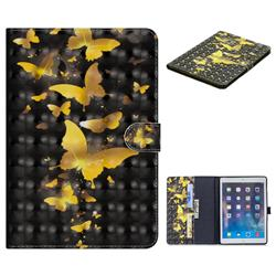Golden Butterfly 3D Painted Leather Tablet Wallet Case for iPad Air iPad5