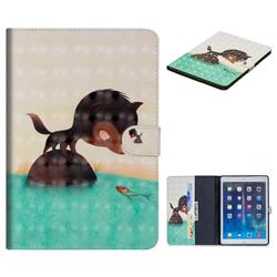 Fox Catching Fish 3D Painted Leather Tablet Wallet Case for iPad Air iPad5