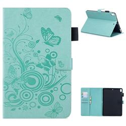Intricate Embossing Butterfly Circle Leather Wallet Case for iPad Air iPad5 - Cyan