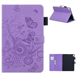 Intricate Embossing Butterfly Circle Leather Wallet Case for iPad Air iPad5 - Purple